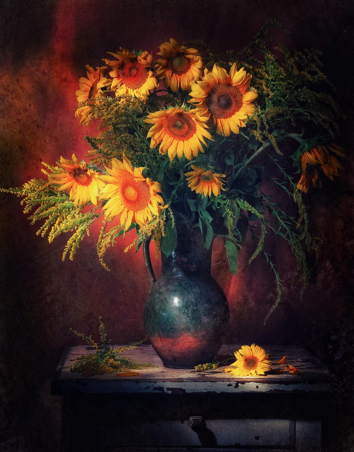 Schilderij -Stilleven Zonnebloemen, 80x100cm. Wanddecoratie -  1 luik