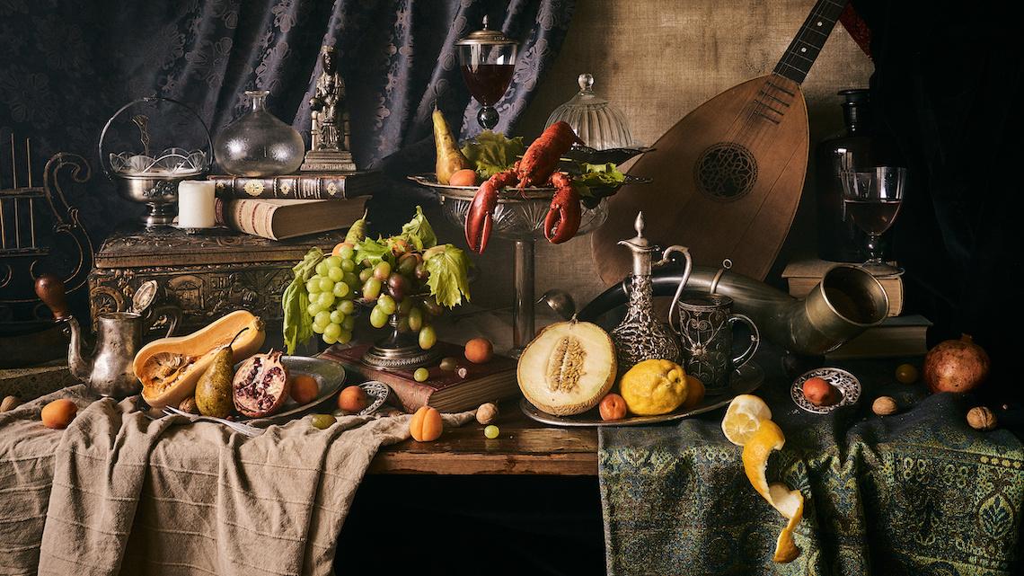 Schilderij -Stilleven met Kreeft en Fruit,120x70cm. Wanddecoratie, premium print -  1 luik