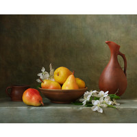 Karo-art Schilderij -Stilleven met  Peren. 100x80cm. Wanddecoratie, premium print