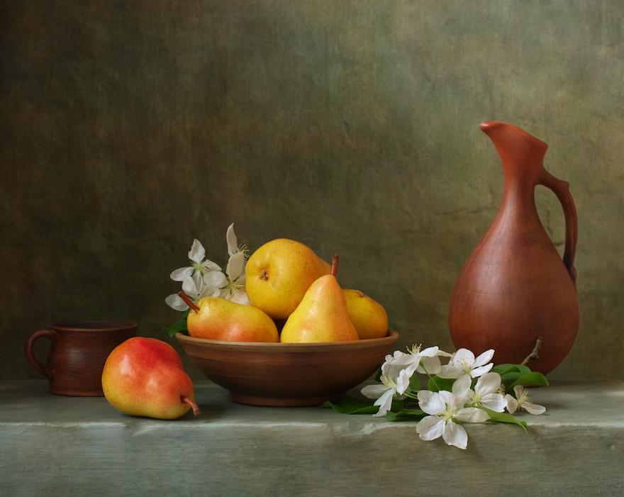 Schilderij -Stilleven met  Peren. 100x80cm. Wanddecoratie, premium print -  1 luik