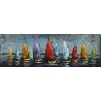 Schilderij -  Metaalschilderij - Zeilboten met gekleurde zeilen. 30x90cm. 3D