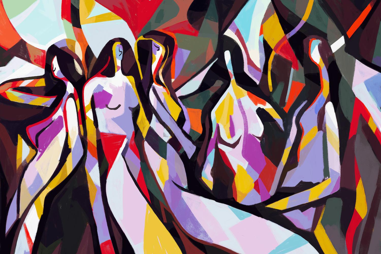 Schilderij -Abstracte vrouw met primaire kleur, Picasso en Mondriaan stijl, 2 maten