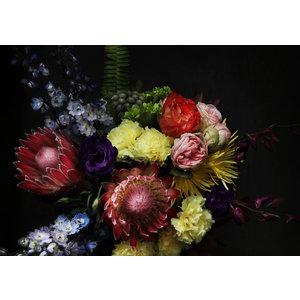 Karo-art Schilderij -Stilleven met Bloemen op donkere achtergrond, 100x70cm, wanddecoratie