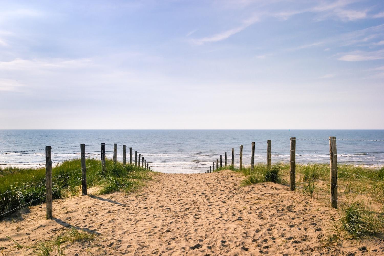 Schilderij -Pad dat over duinen Zandvoort naar de zee leidt op een heldere zomerdag, 2 maten