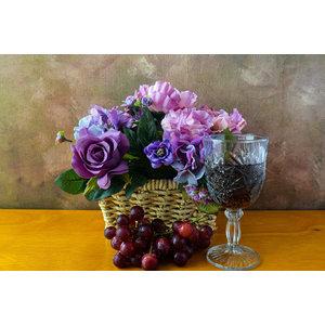 Karo-art Schilderij -Druiven met een glas wijn en bloemen, 100x70cm. Premium print, wanddecoratie