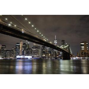 Karo-art Schilderij -Brooklyn Bridge, New York, in de avond,  2 maten, premium print