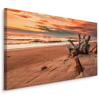 Schilderij - Prachtige zonsondergang op het strand, wanddecoratie, premium print