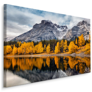 Schilderij - Herfst in de bergen , Wanddecoratie , Premium print