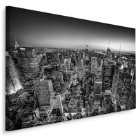 Schilderij - Overzicht over Manhattan in zwart wit , Wanddecoratie , Premium print
