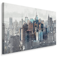 Schilderij - PanoramavanNewYork , Wanddecoratie , Premium print