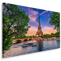 Schilderij - Eiffeltoren in Parijs  , Wanddecoratie , Premium print