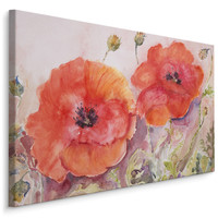 Schilderij -  Geschilderde Klaprozen  , Print op canvas , Wanddecoratie , Premium print