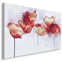 Schilderij -  Abstracte Klaprozen  , Wanddecoratie , Premium print