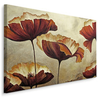 Schilderij -  Prachtige Vintage Klaprozen  , Wanddecoratie , Premium print