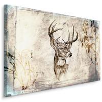 Schilderij -  Vintage Hert  , Wanddecoratie , Premium print
