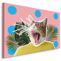Schilderij -  Kat en Bladeren , Abstract  , Wanddecoratie , Premium print