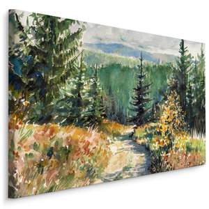 Schilderij - Prachtig schilderij van een landschap, print op canvas, premium