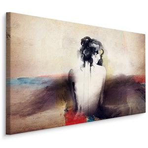Schilderij - Een abstract portret van een vrouw, premium print