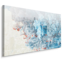 Schilderij - Abstract beeld van een wereld stad, blauw/rood/grijs