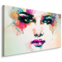 Schilderij - Aquarel gezicht van een vrouw, print op canvas, multikleur