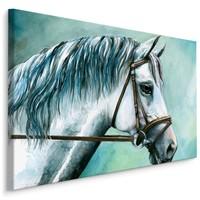 Schilderij - Prachtig schilderij van een wit paard, print op canvas, premium print