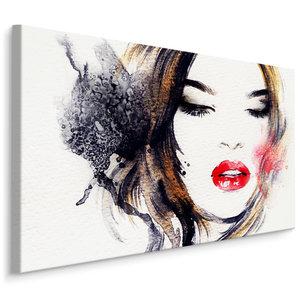 Schilderij - Portret van een dame, print op canvas, prachtige wanddecoratie