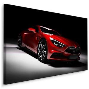 Schilderij - Rode sportwagen, premium print, wanddecoratie
