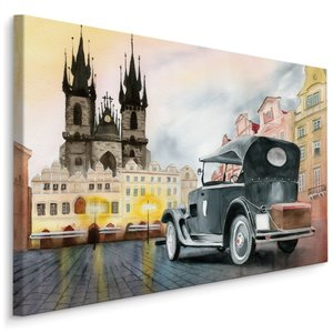 Schilderij - Oldtimer in de stad , print op canvas, Premium print