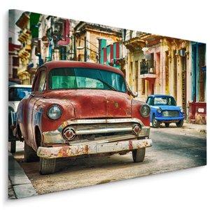 Schilderij - Amerikaans oldtimers in de straten van Cuba, premium print