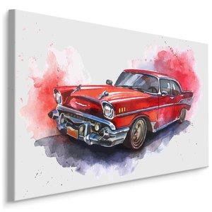Schilderij - Rode Oldtimer, print op canvas, premium print