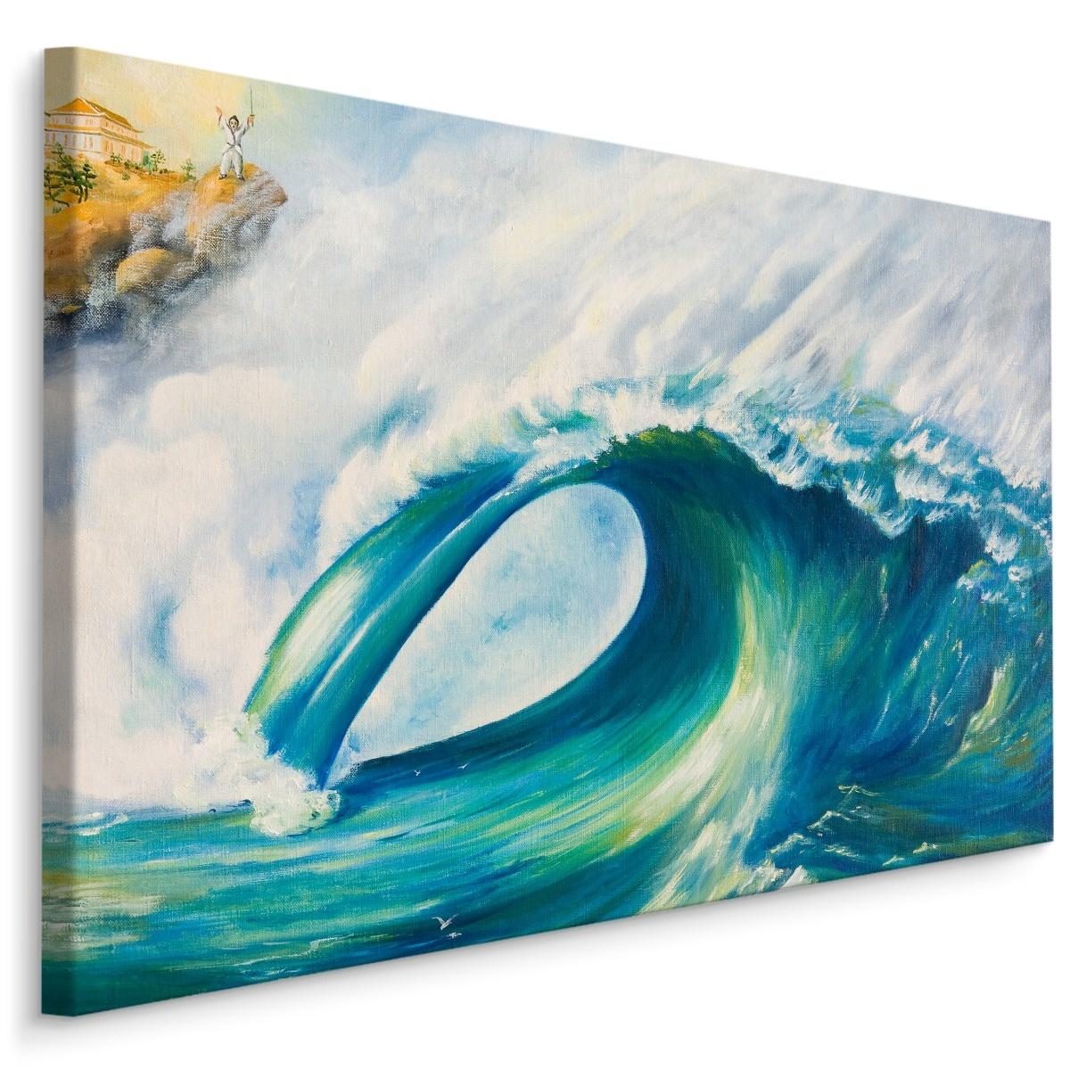Schilderij - Grote golf in Japan (print op canvas), blauw/wit, premium print