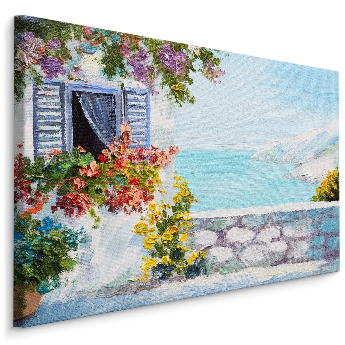 Schilderij - Grieks huis aan de zee (print op canvas), multi-gekleurd, wanddecoratie
