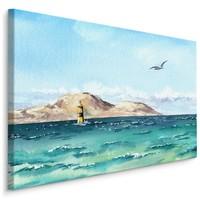 Schilderij Vuurtoren in de zee (print op canvas), blauw, premium print