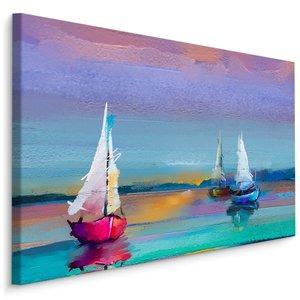 Schilderij - Kleurrijke zeilboten (print op canvas), scherp geprijsde wanddecoratie