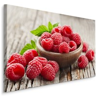 Schilderij - Verse frambozen, rood/bruin, premium print