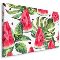 Schilderij - Tropische watermeloen (print op canvas), groen/rood/wit, wanddecoratie
