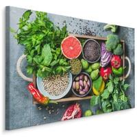 Schilderij - Groente, fruit en kruiden, multi-gekleurd, scherp geprijsd