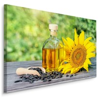 Schilderij - Zonnebloem en olie, multi-gekleurd, premium print