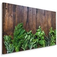 Schilderij - Kruiden op hout (print op canvas), bruin/groen, scherp geprijsd