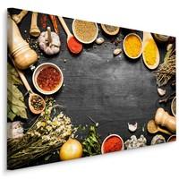 Schilderij - Tafel met specerijen, multi-gekleurd, wanddecoratie