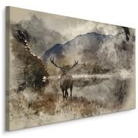 Schilderij - Hert met landschap (print op canvas), bruin, premium print