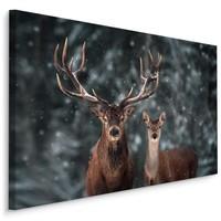Schilderij - Herten in de winter, prachtige wanddecoratie, premium print