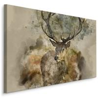 Schilderij -Canvas print van abstract hert in bruine tinten, premium print