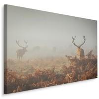 Schilderij - Herten in de mist, 4 maten, premium print, wanddecoratie