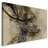 Schilderij - Hert met gewei, print op canvas, 4 maten, premium print