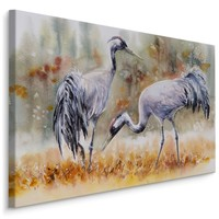 Schilderij - Kraanvogels op een veld (print op canvas), 4 maten, multi-gekleurd, premium print