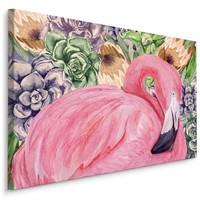 Schilderij - Roze Flamingo en bloemen (print op canvas), 4 maten, premium print