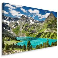Schilderij - Meer tussen de Bergen, 4 maten, premium print, scherp geprijsd