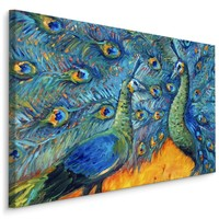 Schilderij - Kleurrijke Pauwen, print op canvas, 4 maten, scherp geprijsd