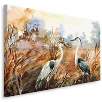 Schilderij - Kraanvogels in de herfst, canvas print, 4 maten, premium print
